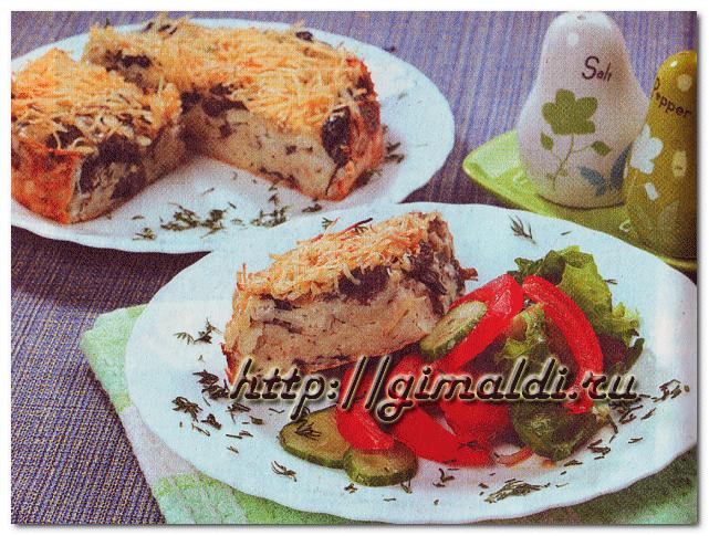 Лапшевник с грибами и сыром