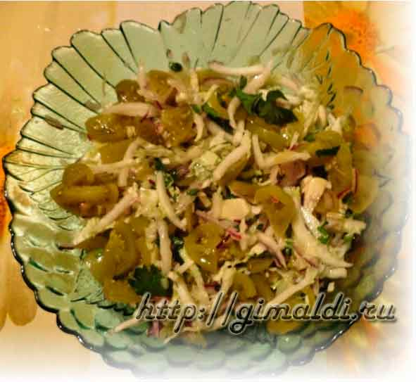Салат из зеленых маринованных помидор