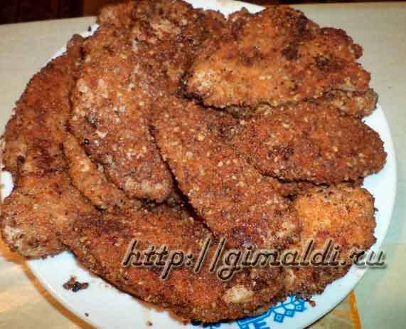Куриные грудки в ореховой панировки