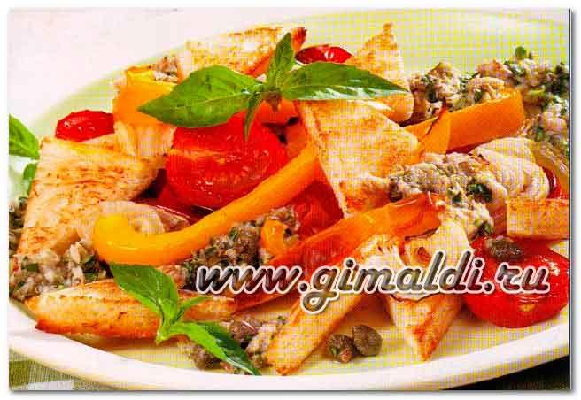 Тосканский салат с ппомидорами и анчоусами