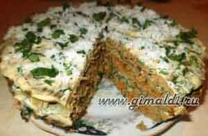 """Печеночный торт """"Первый снег на траве"""""""