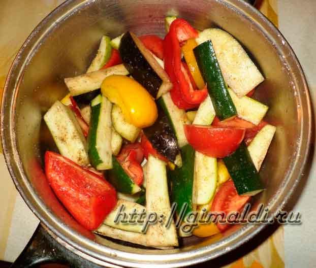 Овощи на решетке, запеченные в духовке
