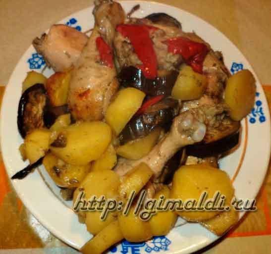 Окорочка в рукаве с овощами