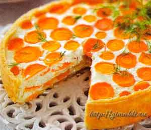 Пирог с творогом и морковью