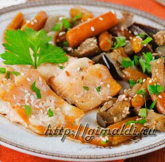 Рыба в пиве с овощами