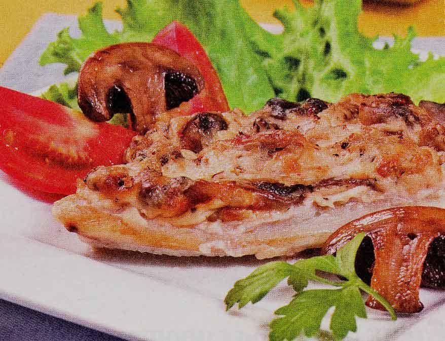 Запеченная в духовке рыба с шампиньонами