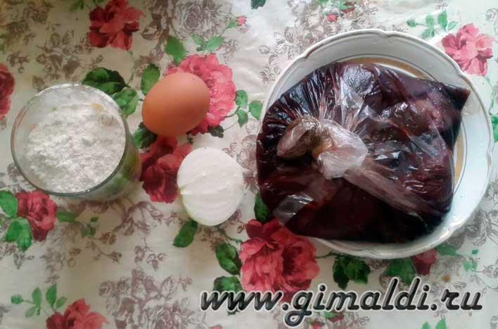 Оладьи из печени-ингридиенты