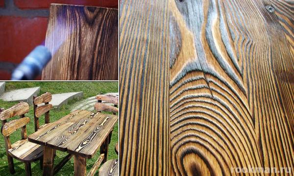 Обработка древесины обжигом и копчением